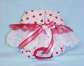 Female Dog Diaper Pants Pet Wrap Doggie Panties Skirt Britches Size XSmall To XLarge Red Polka Dots Fabric