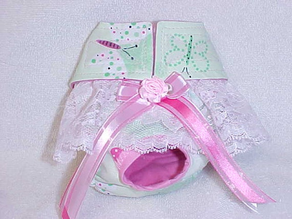 Dog Diaper Panties Panty  For Female Butterfly Dragonfly   Print  Custom  Size XSmall - Medium