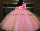 Pink Peach Coral Tutu Dress, Flower Girl Dress, Pageant Tutu Dress, 12 Months to 2 Toddler