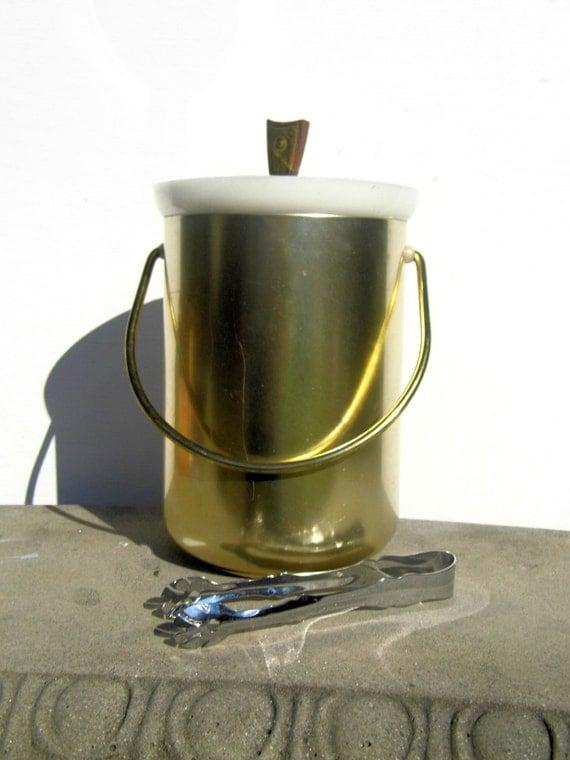 Kromex Ice Bucket, Vintage Ice Bucket, Mid Century Barware, Gold Ice Bucket, Mid Century Decor, Party Decor
