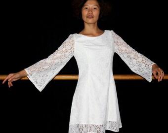 White lace dress, Simple wedding dress, Long sleeves wedding, Short wedding dress, Custom made