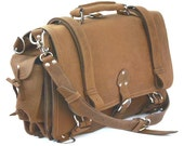 USA MADE Leather Briefcase Messenger Bag Backpack MEDIUM - Buckskin Tan Distressed, Rugged