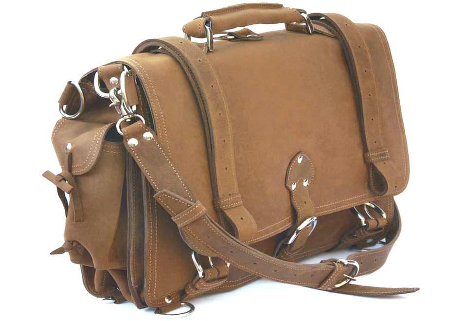 Usa Made Leather Briefcase Messenger Bag Backpack Medium