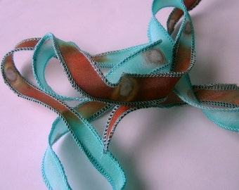 Hand Dyed Painted Habotai Silk Wrap Bracelet - Aqua Copper Rust with Metallic Copper Bubbles- Fairy Ribbon