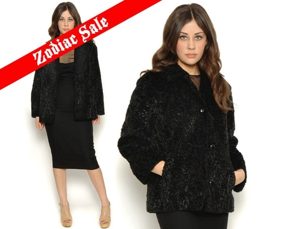 60s Black Faux Fur Persian Lambs Wool Swing Coat Cocktail Jacket Vintage 1960s / Mad Men Retro  / Size S M Small Medium