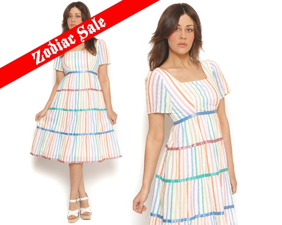 70s Tent Dress Pastel Rainbow Candy Stripe Empire Waist Ribbons Gauze White Colorful Tiered Stripes 1970s Boho Midi Dress / Size S Small