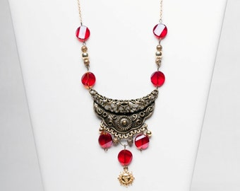 Red and Metal Antique Looking Statement Necklace