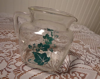 Vintage Square Glass Pitcher with Green Ivy  -  13-874