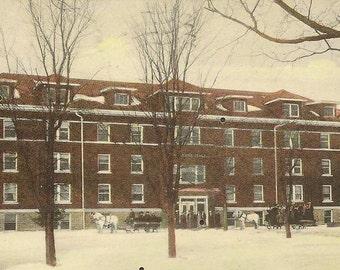 Caroline Hall New Building for Women Ellsworth College Iowa Falls Iowa 1908 flag cancel on vintage postcard