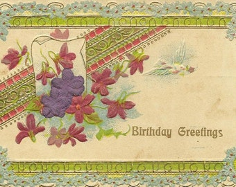 Forget-me-Nots Violets and White Dove on Vintage Birthday postcard New York Station T Flag Cancel 1909