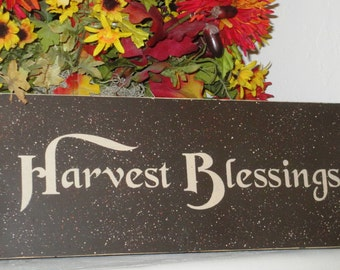 Harvest Blessings Sign - Thanksgiving Sign - Wooden Sign - Wooden Thanksgiving Sign