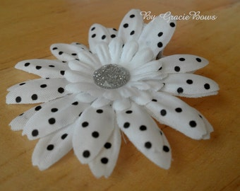 Small White and Black Swiss Dot Daisy Hair Clip