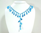 Glistening Raindrops - Sparkling Blue Necklace - Clearance Sale