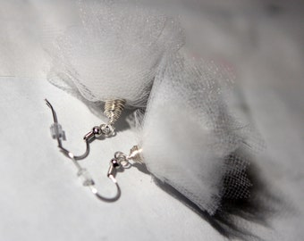 White Tulle Earrings - Choose Your Wedding Color - Gold or Silver Toned Metal - Bridal Jewelry - Bridesmaid Gift
