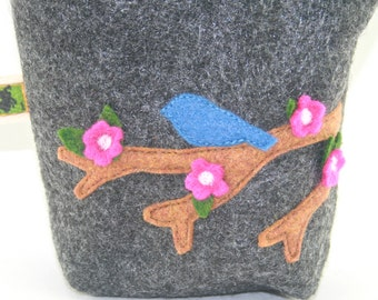Little Leash Bag  Blue Bird on a Spring Branch