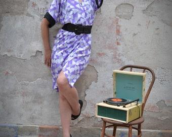 Vintage Lavender Kimono Surplice Wrap Dress