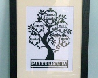 Papercut Original Family tree framed with Family Name
