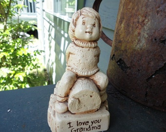 Molded Vintage Plastic Figurine by Paula I Love You Grandma