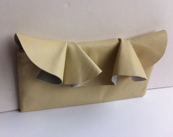 Pretty leather ruffle clutch in Cream, perfect as a wedding accessory