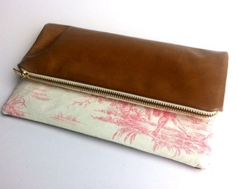 Limited edition clutch bag with vintage style print and tan leather, small