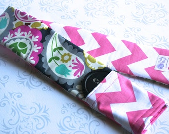 Reversible Camera Strap Cover with Lens Cap Pocket - Riley Blake Pink Chevron and Paisley - Designer Fabric