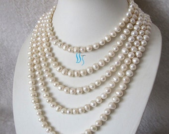 Pearl Strand Necklace - 100 inch 8-9mm White Freshwater Pearl Strand Necklace - Free shipping
