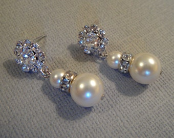 Pearl Bridal Earrings Swarovski Pearls and Rhinestone post choice of color quantities available wedding jewelry gift