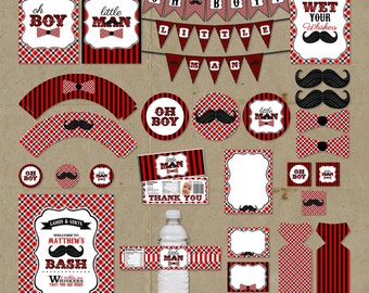 Red & Black Little Man Birthday Party Package - Decorations Favors - DIY digital file U Print