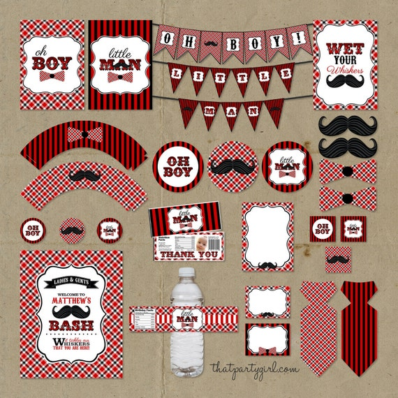 Red Black Little Man Birthday Party Package Decorations