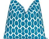 Chevron Pillows Decorative Throw Pillow Covers  18 x 18 Deep Turquoise on White Slub Trellis