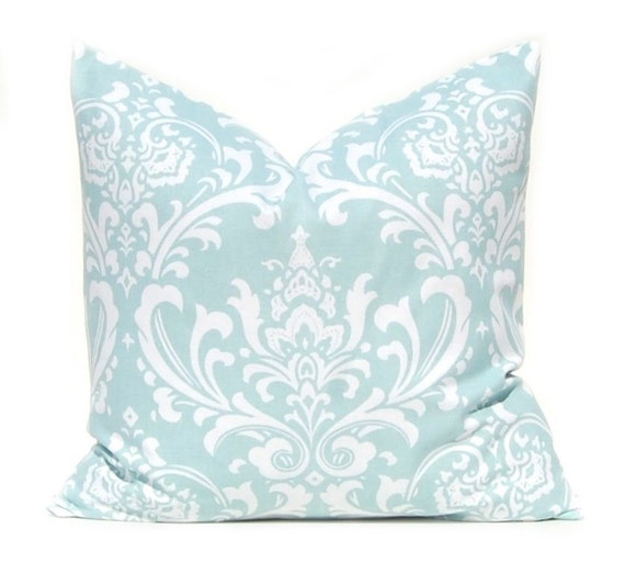 Throw Pillows Aqua Blue : Decorative Throw Pillow Cover Powder Blue Aqua by FestiveHomeDecor
