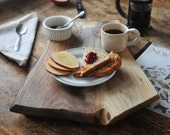 New York Breakfast - Rustic Serving Tray Cutting Board Walnut Footed Platte Gift for Dad