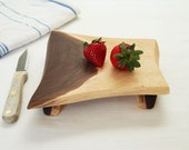 Small Walnut Footed Serving Board Natural Edge Tray Eco Friendly Wood