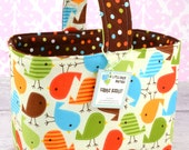 READY to SHIP!  Halloween or Easter Candy Basket Fabric Storage Container Bin-  Ann Kelle Urban Zoologie Baby Birds Bermuda