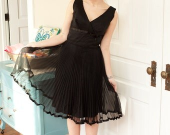 1960s Black V Neck dress with Sheer Pleated Skirt M