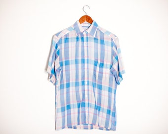 1980s Pastel Blue and Pink Spring Plaid. Short Sleeve. Mens SMALL. Lightweight. Comfortable.
