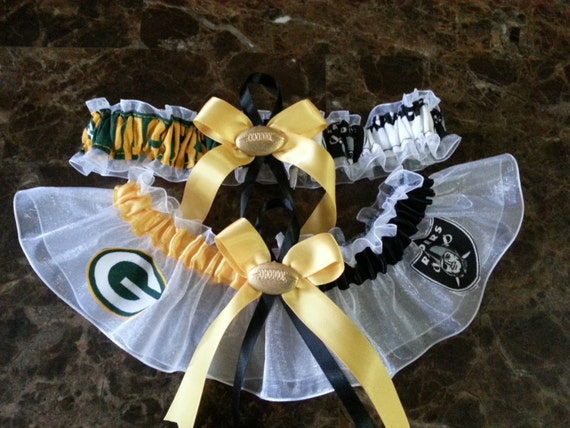 Green bay packers and oakland raiders wedding garter set any for Green bay packers wedding dress