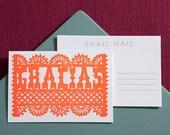 Gracias Letterpress Postcard