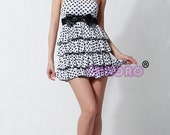 hot elegant women Cocktail Evening club Party daily casual white/black layered dress mini skirt