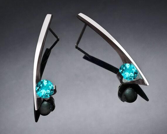 blue topaz earrings, turquoise blue topaz, Argentium silver, eco-friendly, modern jewelry, silver earrings - 2458
