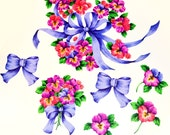 Vintage Collection of Ribbon and Pansy Floral Iron Ons