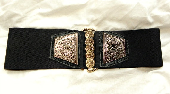Vintage 80s black Elastic waist Belt concho coins Rock N Roll bohemian L.A. rock chick gold chunky rocker biker 70s kate hudson