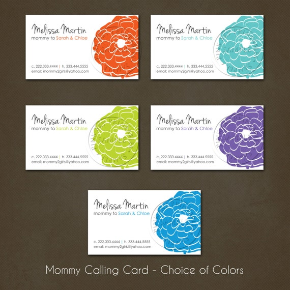 Printable mommy calling cards business cards by for Mommy business cards