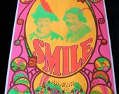 1969 Large Black Light Poster SMILE Laurel and Hardy and the Beatles Yellow Submarine