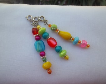 Neon Zipper Pulls / Rainbow Set of Three Beaded Zipper Pulls / Purse Charm / Bag Fob / Purse Jewelry
