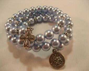 Swarovski Light Blue Pearls Memory Wire Rosary Bracelet,rosary,religious bracelet,praying beads,wrap rosary,rosary beads,prayer beads,wrap