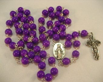 Purple Glass Bead Rosary,Rosary,Rosary Chain,Catholic Rosary, Catholic,Rosary Supplies,Rosaries,Rosary Necklace, Prayer Beads