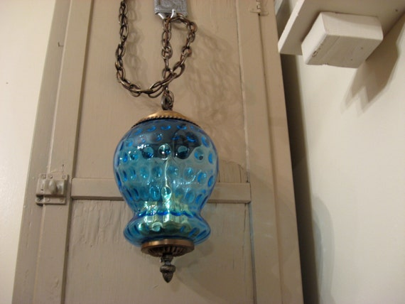 Vintage Hanging Lamp Blue Glass With Brass By Venitadezzins