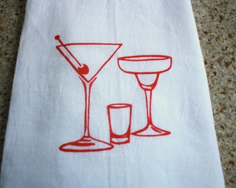 Cocktail Glasses screen printed kitchen towel