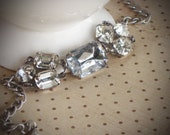 Rhinestone Wedding Jewelry, Bracelet, Bride, Crystal, Clear, Silver, by rewelliott on Etsy